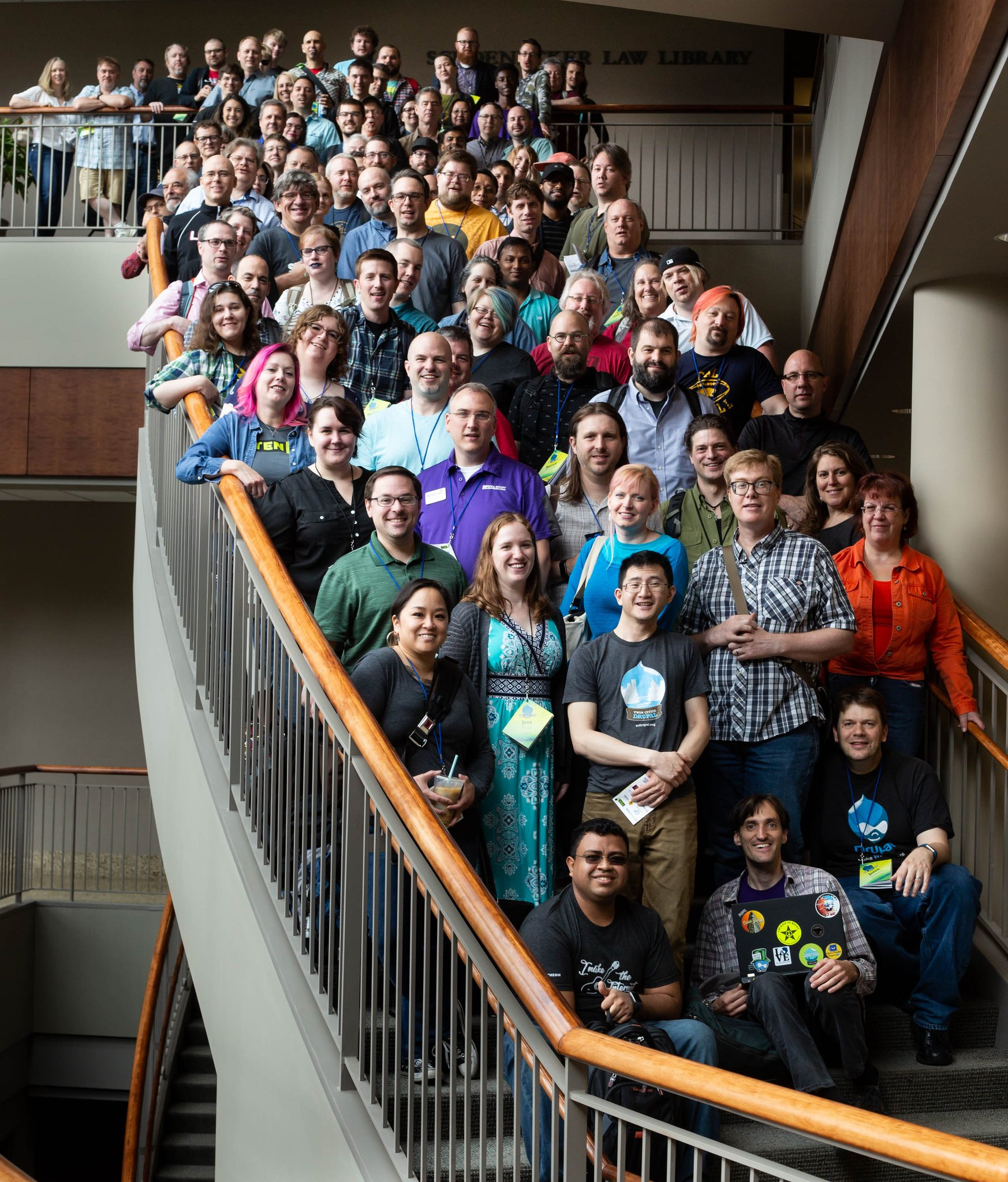 Group photo, everyone on the staircase. Twin Cites Drupal Camp 2018