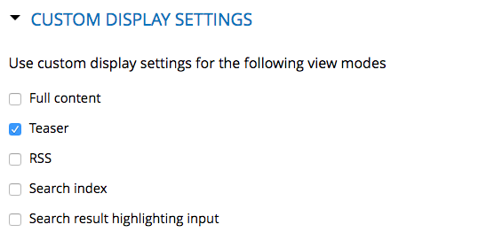 Custom Display Settings