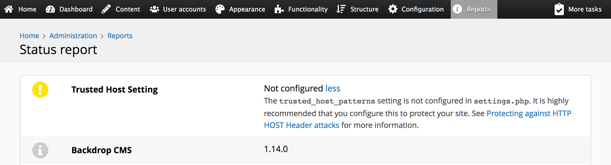 Screenshot of the status report showing the new trusted host patterns setting.