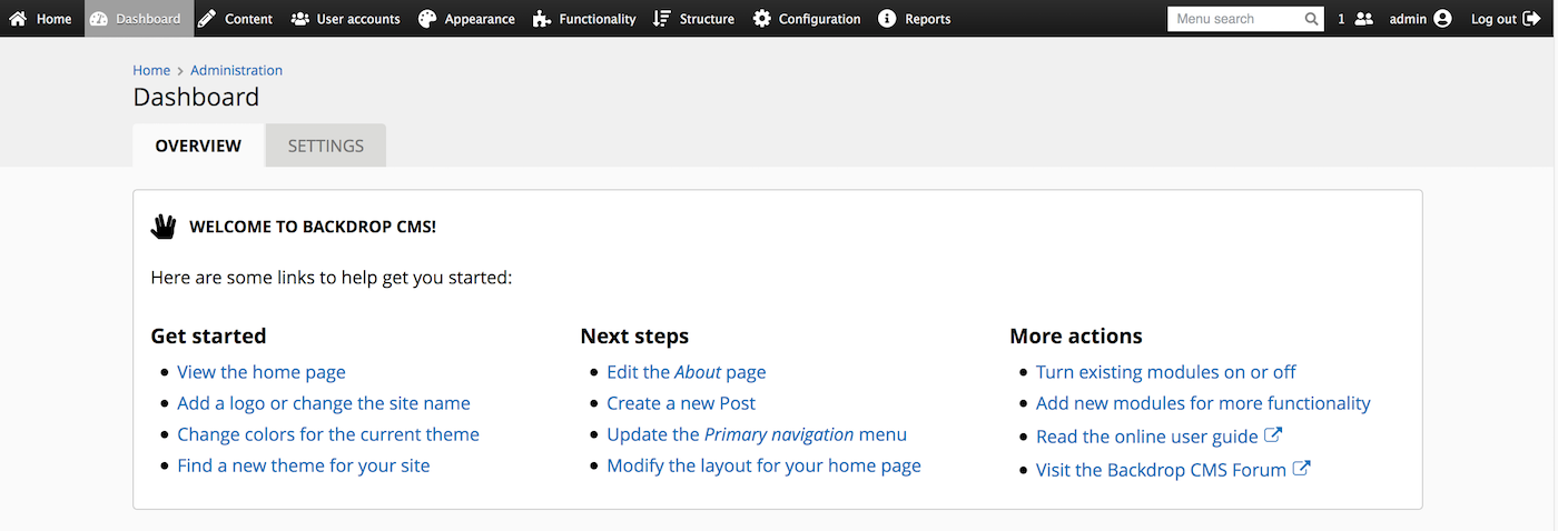 A screenshot of the new Welcome block on the dashboard.