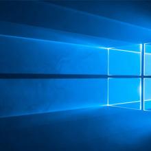 Windows 10 graphic: light streaming through a window.