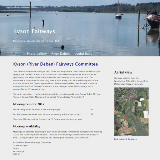 Kyson Fairways website home page.
