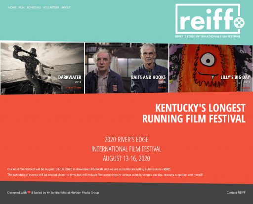 Screenshot of Rivers Edge International Film Festival home page