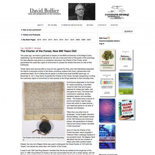 David Bollier's Personal Website, viewed on a desktop.