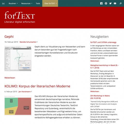 forTEXT website, desktop