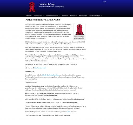 Bildschirmfoto von nachtschlaf.org